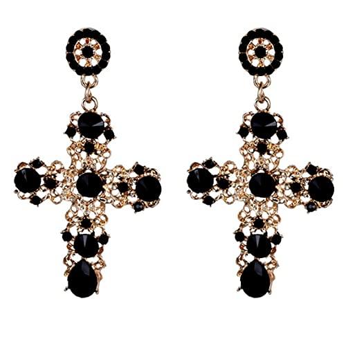 Recién llegado Pendientes de botón cruzados de cristal vintage para mujer Pendientes largos grandes bohemios barrocos Regalo de joyería - Negro