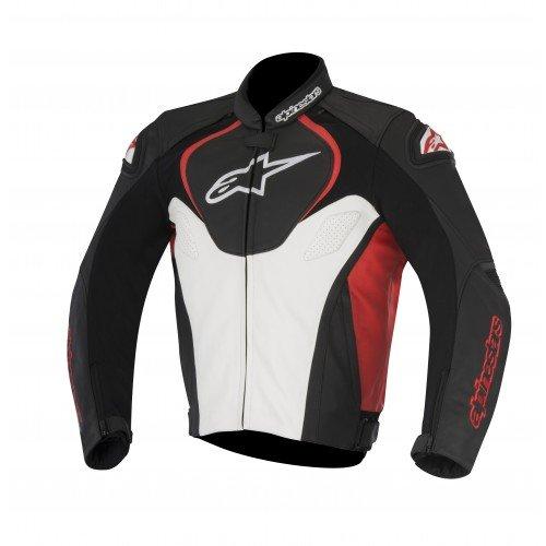 Alpinestars Jaws Cuir - Giacca da motociclista, taglia 52, colore: Nero/Bianco/Rosso