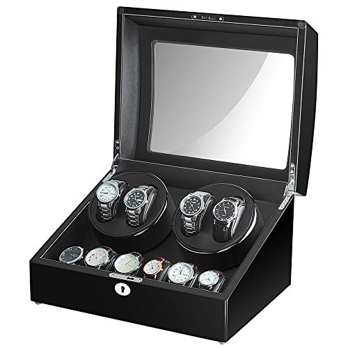 Maselex 4 Watch Winder Box for Automatic Watches with 6 Storages and Quiet Mabuchi Motor(Black)-21 Rotation Modes