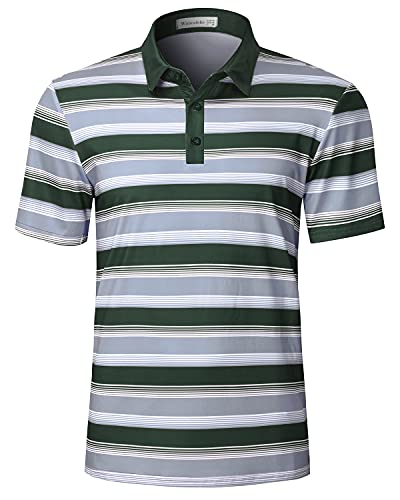 Wancafoke Mens Striped Golf Polo Shirts Short Sleeve Dry Fit Performance Athletic Collared Polos Army Green Large