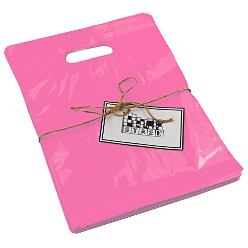 Packstash 16 x 18 x 4 (100 Qty) Pink Retail Merchandise Plastic Shopping Bags - (Large) Premium Tear-Resistant Film, Double Thick Handles, Vibrant Glossy Finish