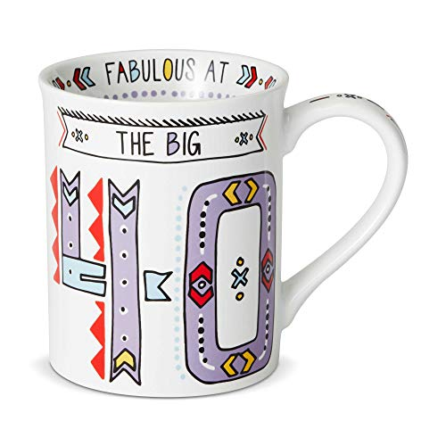 Enesco Our Name is Mud The Big 40 Cuppa Doodle, 16 oz. Stoneware Mug, Purple