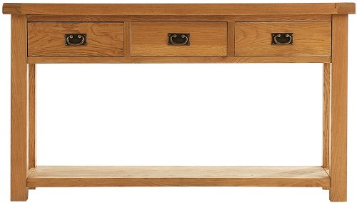 HarryJoseph Large Console Table With 3 Drawers. Quality Oak Living Room Dressers Drawers Sideboard At Affordable Prices