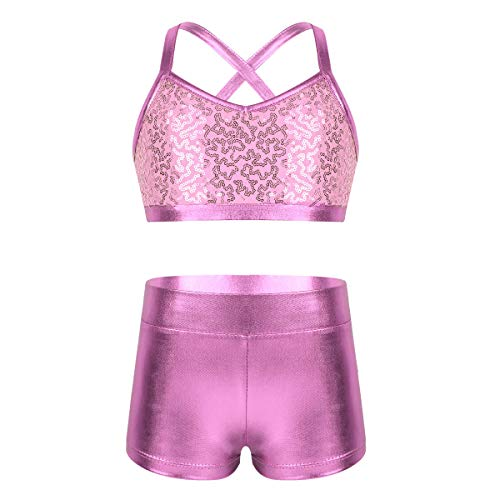 inlzdz Kids Girls Sequins Tankini Set Criss Cross Back Crop Top Tanks with Metallic Bottoms Gymnastics Workout Costume Pink 5-6