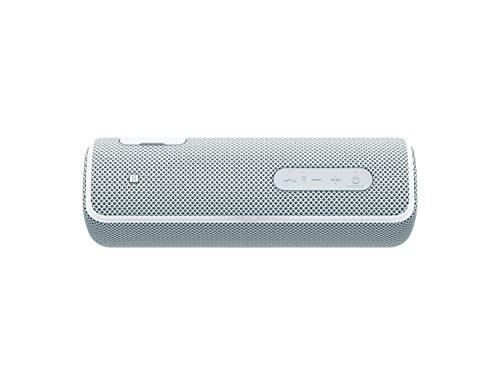 Sony SRS-XB21 kabelloser Bluetooth Lautsprecher (tragbar, farbige Lichtleiste, Extra Bass, NFC, wasserabweisend, kompatibel mit Party Chain) weiß