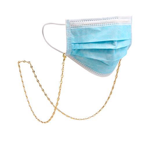 Amaxer Cadena de gafas para mujer, oro rosa, clip de papel dorado y plateado, para hombres (tono dorado, 1)