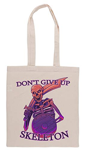 Luxogo Dont Give Up, Skeleton! Bolsa De Compras Groceries Beige Shopping Bag