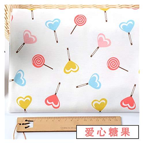 VIAIA Tela de algodón Puro Niños Jersey Tejido de Punto 100% Princesa niños Vestido Costura Lindo Floral Anime Historieta Impreso Brocado Bricolaje (Color : Love Candy)