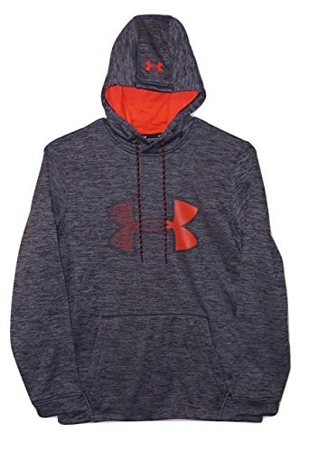 Under Armour Mens Cold Gear Ua Graphic Logo Hoodie (Medium), Black Heather/Orange
