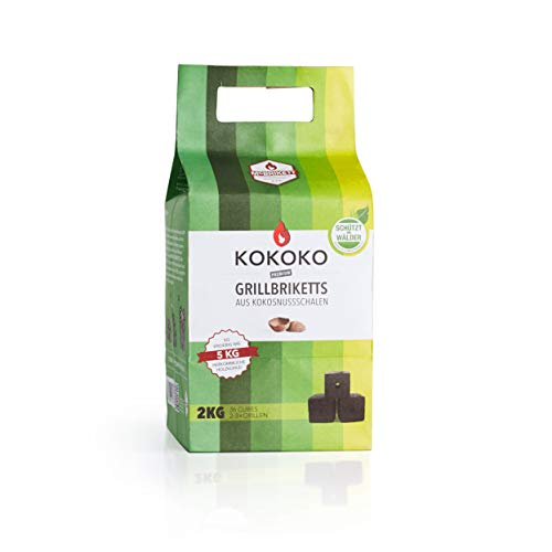 Grillkohle KOKOKO CUBES von McBrikett, 2KG, Bio - Grillbriketts aus Kokos, Top für Dutch Oven, Outdoor, Camping Grillen, rauchfrei, 3-4 Std. lange Brenndauer