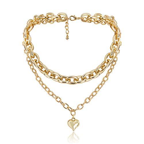 Collar de gargantilla de cadena de múltiples capas de metal vintage para mujeres joyas de collar de cadena de plata de oro-Oro
