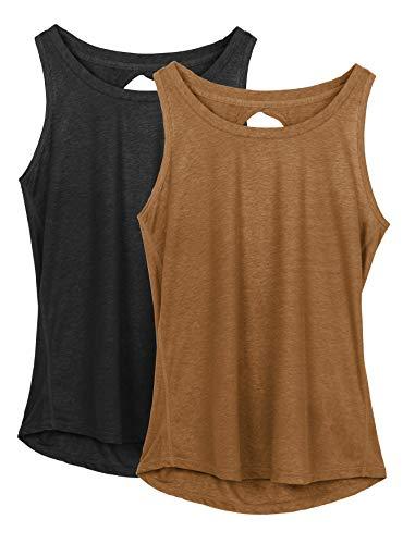 icyzone Damen Yoga Sport Tank Top Rückenfrei Fitness Oberteil ärmellos Shirts, 2er Pack (XL, Schwarz/Braun)