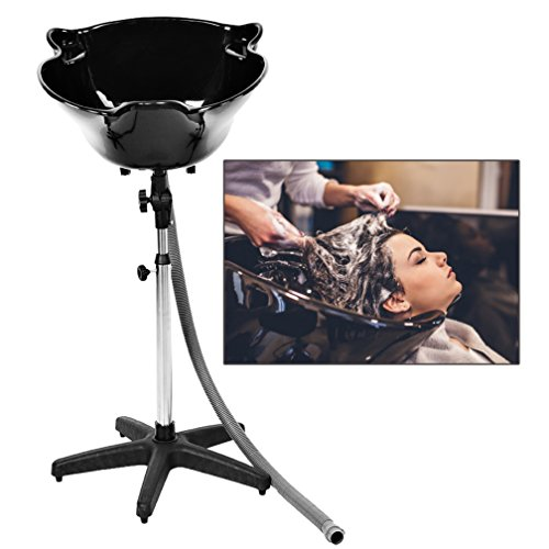 Salon Deep Shampoo Basin Sink,Portable Height Adjustable Shampoo Basin Hair Treatment Bowl Salon Tool with Drain Hose,Black