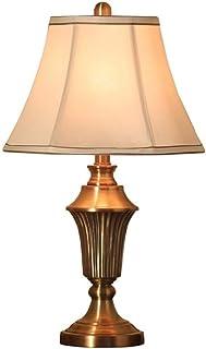 WYBFZTT-188 Moderne Tischlampen Reiche Bronze Eisen Burlap Fabric Drum Shade for Wohnzimmer Schlafzimmer Tischlampe