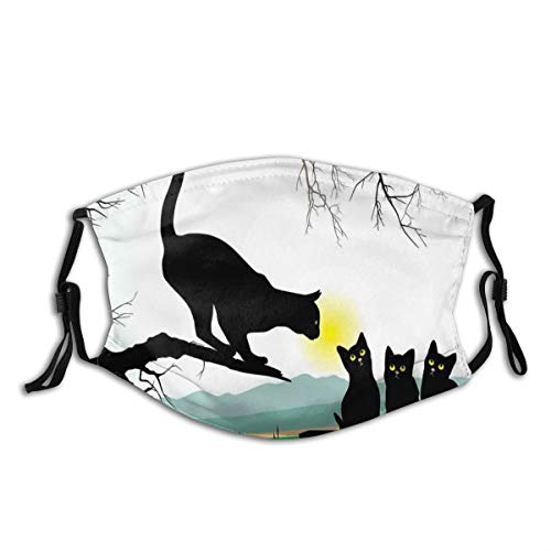 Comfortable Filter Sponge Windproof Mask,Mother Cat On Tree Branch And Baby Kittens In Park Best Friends I Love My Kitty Graphic,Printed Facial Decorations For Unisex