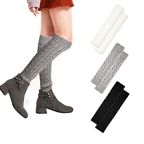 3 Pairs Women Knit Leg Warmers Winter Knee High Crochet Long Boot Cuffs Socks