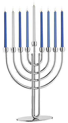 Rite Lite Modern Traditional Chanukah Menorah - Silver Steel Hanukkah Menorah 9.00