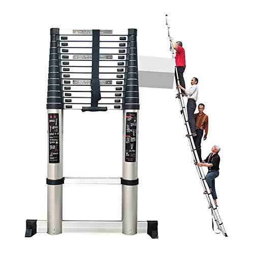 JHNEA Escalera Telescópica, Extensible de Aluminio Escaleras de Mano Portátil Household Stepladder Multiusos Patas Antideslizantes 330lbs Capacidad,4.6m/15ft