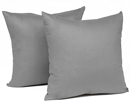 WOLTU® KB5142dgQ2, 2X Kissenbezug Kissenhülle 100% Baumwolle mit Reissverschluss, 2er Set Sofakissen Dekokissen Kissen Bezug, Kopfkissen Hülle Bezüge Doppelpack, 40x40 cm, Dunkel Grau