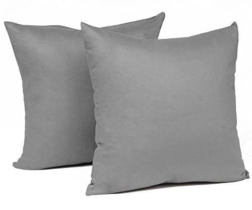 WOLTU® KB5151dgQ2, 2X Kissenbezug Kissenhülle 100% Baumwolle mit Reissverschluss, 2er Set Sofakissen Dekokissen Kissen Bezug, Kopfkissen Hülle Bezüge Doppelpack, 30x30 cm, Dunkel Grau