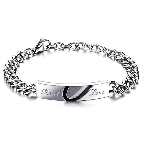 JewelryWe Schmuck Herren Armband, Lieben Freundschaftsarmband, Real Love Kombiniert Herz, Edelstahl, Schwarz Silber