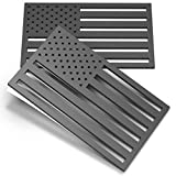 2 Pack 3D American Flag Sticker, 4mm Thickness Acrylic Cut-Out Car Military Patriotic Emblem, Matte Black Bumper Stickers Decal for Car Truck SUV