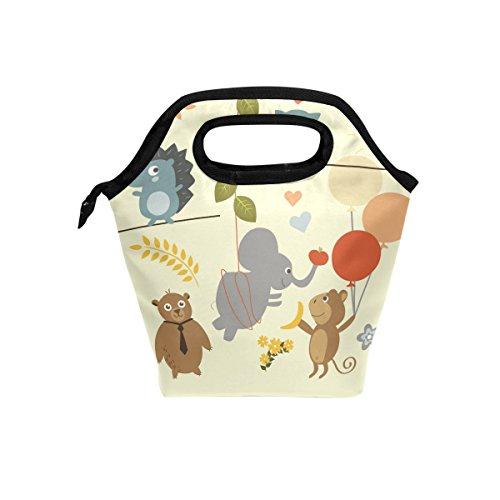 Cute animaux de la forêt Jaune repas isotherme Sac fourre-tout pour femme Lunch Box Cooler avec fermeture à glissière pour adultes/enfants filles, garçons, hommes