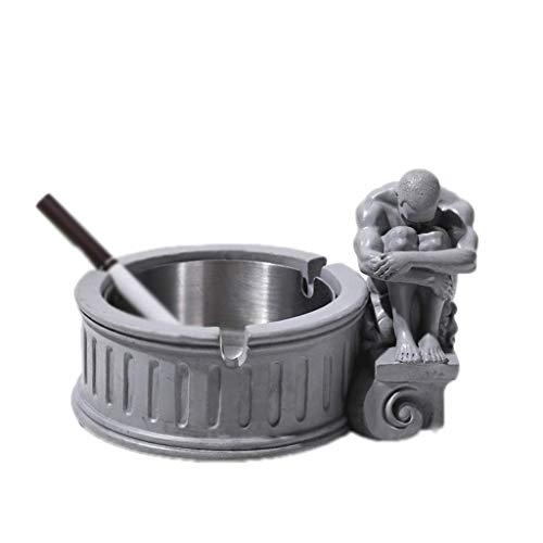OH Bandeja de Cementen de Cemento de Acero Inoxidable en Forma de Humano Interior Y Exterior Cenicero de Escritorio para el Patio Decoración Del Hogar Exquisito/Style C Light Gray
