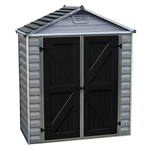 Rowlinson Palram Skylight Apex Shed 6x3ft, Storage, Grey and Black