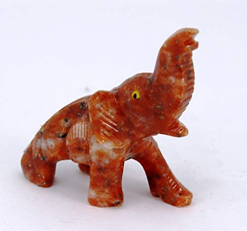 Agata Mineral Import Elefante - Tallado en Calcita Naranja/Animal en Piedras Semi Preciosas - Dimensiones Aproximadas: 60 gr - 7 cm Altura & 5 x 5 cm Anchura