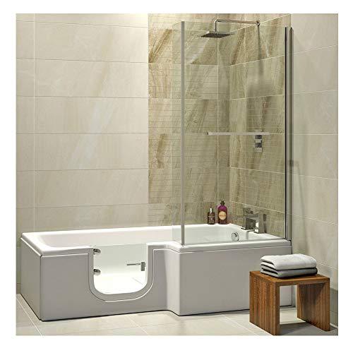 Badewanne mit Tür, Seniorenbadewanne 170x85/70x53cm mit Duschkabine,Wannenschürze und Ablauf/Sifon, Ausführung RECHTS