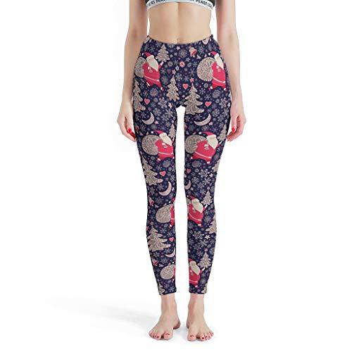 Gamoii Women's Sports Leggings Christmas Santa Claus Red Blue 3D Print Sports Trousers Yoga Pants High Waist Elastic Tights Trousers - White - L