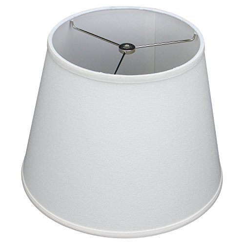 FenchelShades.com Lampshade 9' Top Diameter x 13' Bottom Diameter x 10' Slant Height with Washer (Spider) Attachment for Lamps with a Harp (White)