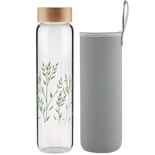 Ferexer Trinkflasche Glas 1l Wasserflasche Glas mit Bambus Deckel 1 Liter
