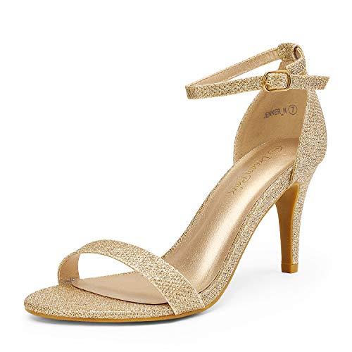 DREAM PAIRS Women's Jenner Gold Glitter Pumps Heel Sandals Size 6 US