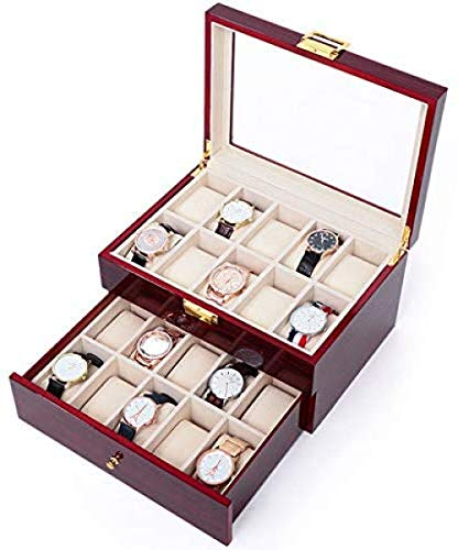 Hoge kwaliteit Watch Box Men S Valet ladekast Stevige Houten Watch Box Storage Box Houten Doos is geschikt for 20 horloges met Glass Top Cover en Large Bekijk HD, Storage Case for ringen, oorbellen, k