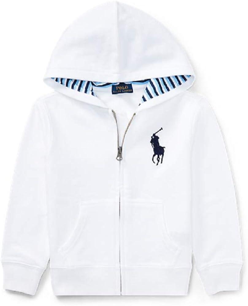 Ralph Lauren Boys Cotton Blend Fleece Hoodie, White Color, Size 6