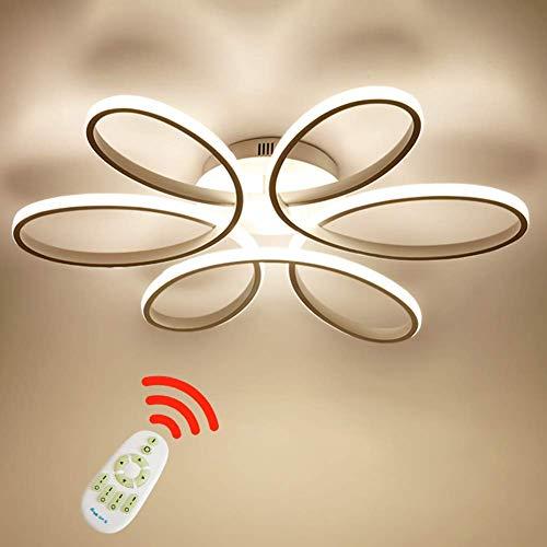 Lámpara de techo LED de 85 vatios Forma de flor creativa Lámpara de techo Pantalla de aluminio acrílico moderna y elegante, blanca mate Luz de techo Dormitorio L59cm * H11cm, Regulable 3000~6000 K