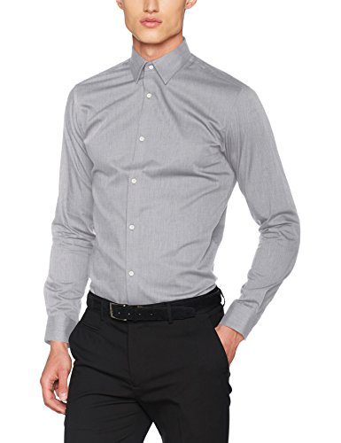 Jack & Jones Jprnon Iron Shirt L/s Noos Camisa, Gris (Grey Melange Fit:Slim Fit), Large para Hombre