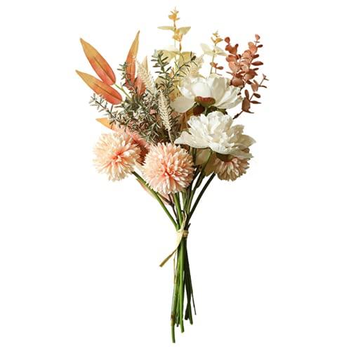 N\A Ramo de champán, flores artificiales, flores de peonía falsas y hortensias de seda, decoración de flores realistas de plástico para decoración de boda