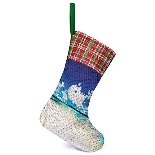 Adorise Personalizar calcetines de Navidad exóticos océano tropicales vacaciones chimenea colgante calcetines de Navidad para vacaciones familiares decoraciones de fiesta de Navidad