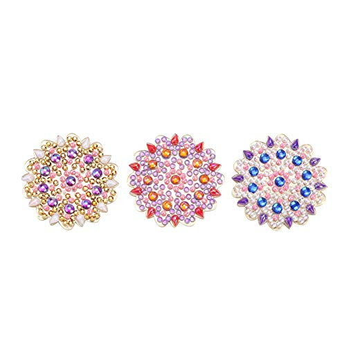 3pcs DIY Diamond Painting Brooch Pins 5D Full Drill Diamond Brooches Flower Rhinestone Jacket Lapel Pins Gifts for Women Girls
