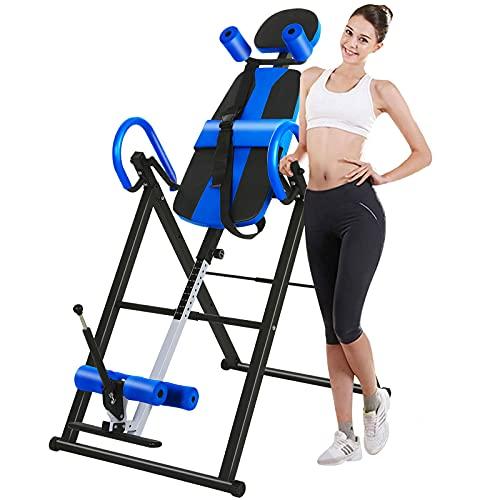 UFLIZOGH Panca a inversione regolabile per esercizi di gravità con cintura di protezione, pieghevole, per alleviare il dolore, portata fino a 150 kg