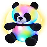 WEWILL LED Panda Stuffed Animal Glow Soft Plush Toys Light up in Dark Bedtime Companion with Night Lights Birthday Gift for Kids on Christmas Festival Occasions, 11.5 inch