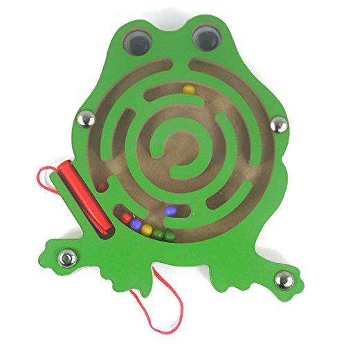 HappyToy Tier Mini Wooden Runde Magnetische Wand Nummer Maze Interaktive Labyrinth Magnet Perlen Labyrinth auf Brettspiel Stadt Verkehr Eduactional Handcraft Toys (Frosch)