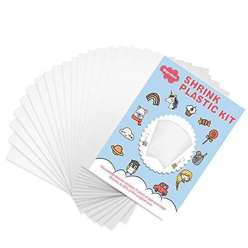 Warckon 24 Pieces Shrink Plastic Sheets, Shrink Art Paper Shrink Film Sheets Frosted Ruff n' Ready for Kids Creative Craft, Create Your Own Shinky Dinks, Earrings, Necklace, Keychains(A5 Size)