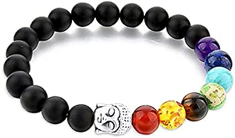 REBUY® Black Tourmaline Stone Bracelet with 7 Root Chakra Stone and Buddha Head 8 mm Beads Reiki Healing Charm Bracelet...
