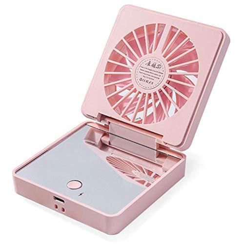 TSSM Mini avec Miroir Petit Ventilateur Portable USB Charge Portable Support de téléphone Portable Pliant étudiante Maquillage Miroir intérieur extérieur