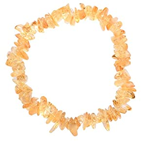 """[1] Charged 7"""" Citrine Crystal Chip Bracelet Tumble Polished Stretchy + Selenite Heart Charging Crystal Included (Radiates Light, Peace of Mind & Joy)"""