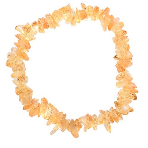 Zenergy Gems [1] Charged 7' Citrine Crystal Chip Bracelet Tumble Polished Stretchy + Selenite Heart Charging Crystal Included (Radiates Light, Peace of Mind & Joy)